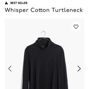 Madewell Black Whisper Cotton Turtleneck Sz M NWT